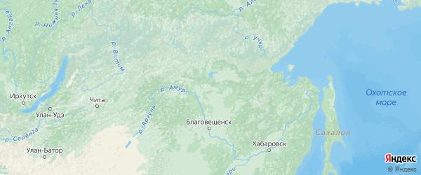 Карта Амурской области с городами и районами