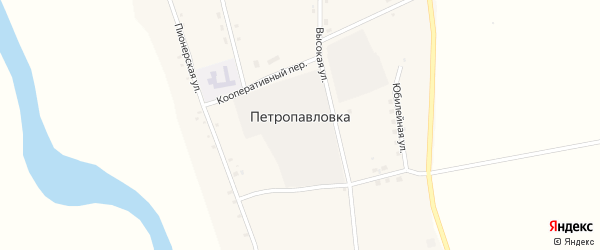 Садовый переулок на карте села Петропавловки с номерами домов