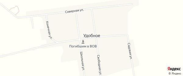 Школьная улица на карте Удобного села с номерами домов