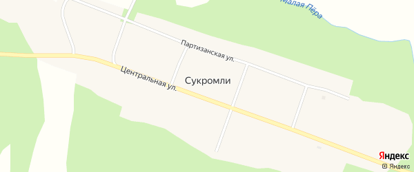 Центральная улица на карте села Сукромли с номерами домов