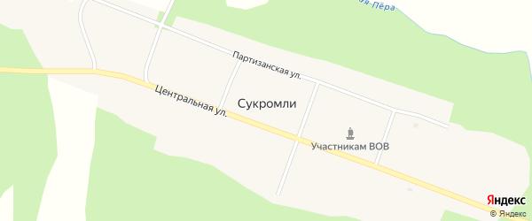 Партизанская улица на карте села Сукромли с номерами домов