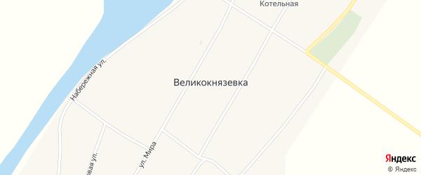 Школьный переулок на карте села Великокнязевки с номерами домов