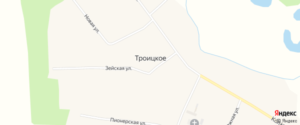 Комсомольская улица на карте Троицкого села с номерами домов