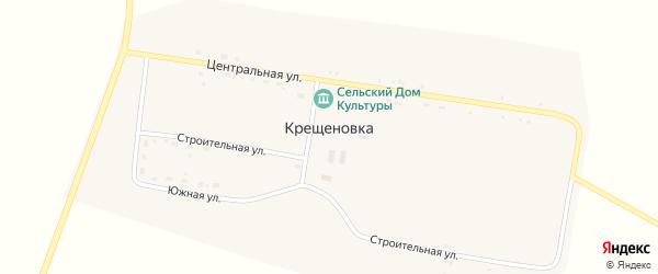 Центральная улица на карте села Крещеновки с номерами домов
