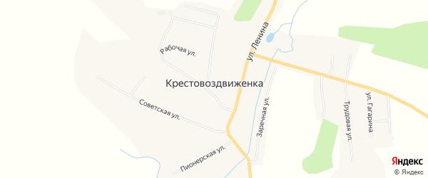 Карта села Крестовоздвиженки в Амурской области с улицами и номерами домов