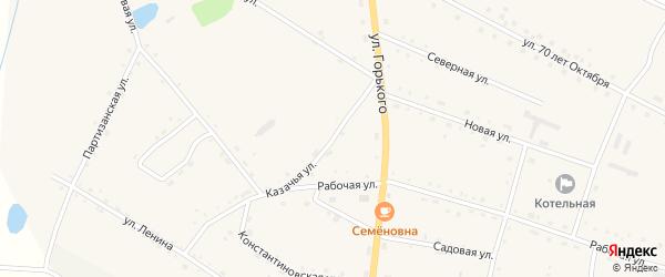 Казачья улица на карте села Константиновки с номерами домов