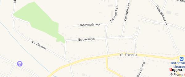 Высокая улица на карте села Ивановки с номерами домов