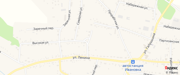 Высокий переулок на карте села Ивановки с номерами домов