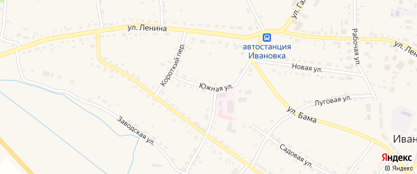 Южная улица на карте села Ивановки с номерами домов