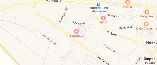 Больничный переулок на карте села Ивановки с номерами домов