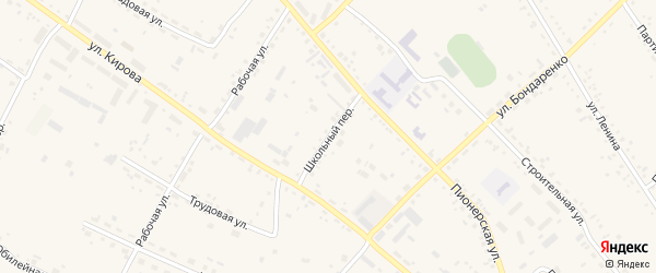 Школьный переулок на карте села Ивановки с номерами домов