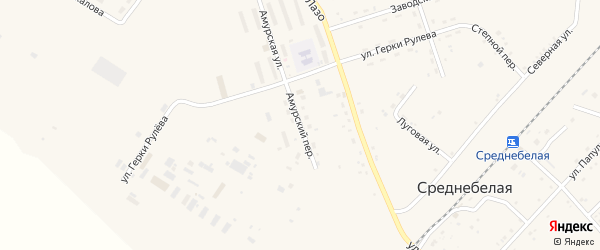 Амурский переулок на карте села Среднебелой с номерами домов