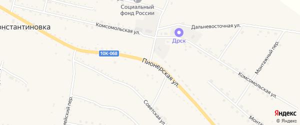 Пионерская улица на карте села Константиновки с номерами домов