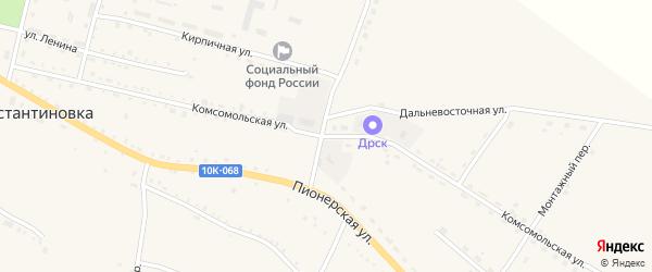 Комсомольская улица на карте села Константиновки с номерами домов