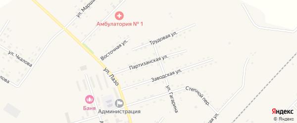 Партизанская улица на карте села Среднебелой с номерами домов