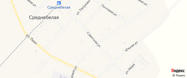 Советская улица на карте села Среднебелой с номерами домов