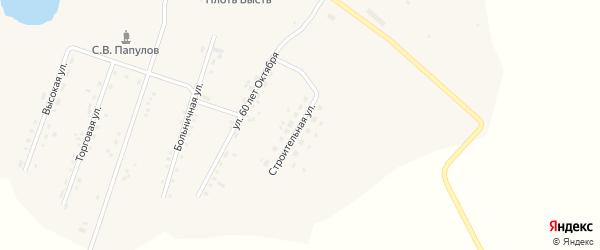 Строительная улица на карте села Среднебелой с номерами домов