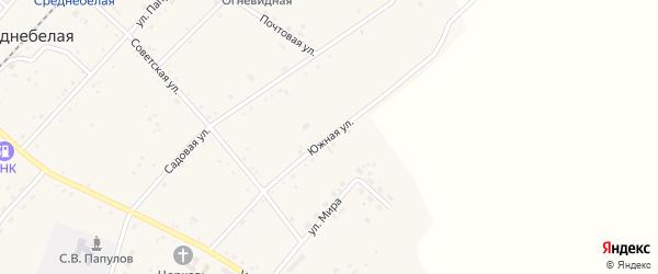 Южная улица на карте Среднебелого села с номерами домов