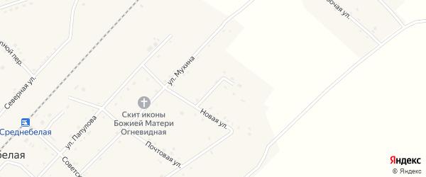 Угловая улица на карте села Среднебелой с номерами домов