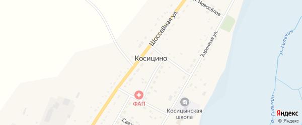 Зеленая улица на карте села Косицино с номерами домов