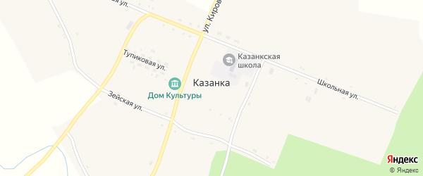 Зеленая улица на карте села Казанки с номерами домов