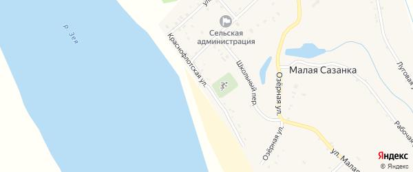 Краснофлотская улица на карте села Малой Сазанки с номерами домов