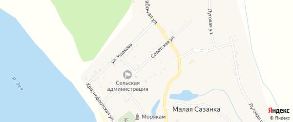 Советская улица на карте села Малой Сазанки с номерами домов