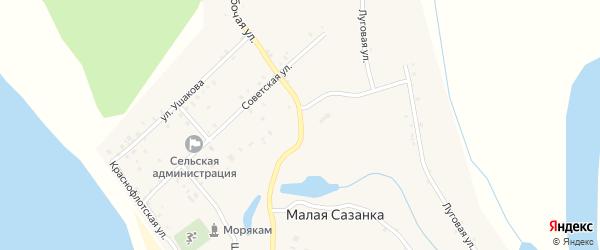 Улица Нахимова на карте села Малой Сазанки с номерами домов
