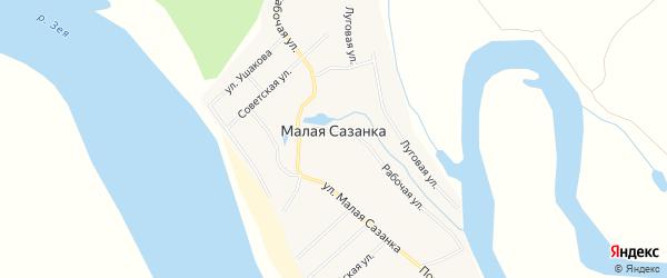 Карта села Малой Сазанки в Амурской области с улицами и номерами домов