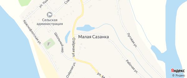 Рабочая улица на карте села Малой Сазанки с номерами домов
