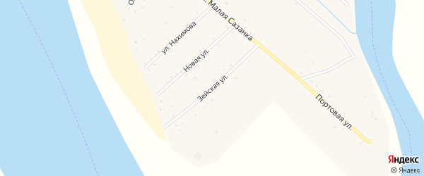 Зейская улица на карте села Малой Сазанки с номерами домов