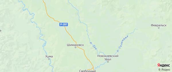 Карта Шимановского района Амурской области с городами и населенными пунктами