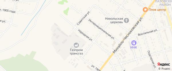 Народная улица на карте Свободного с номерами домов