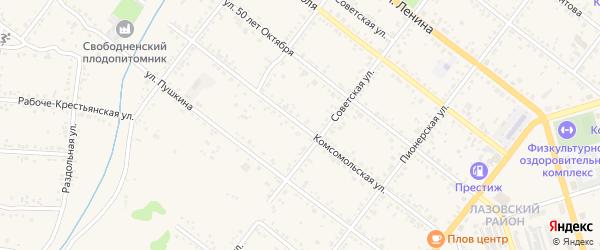 Комсомольская улица на карте Свободного с номерами домов