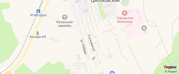 Сосновая улица на карте поселка Углегорска с номерами домов