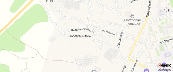 Тополевый переулок на карте Свободного с номерами домов
