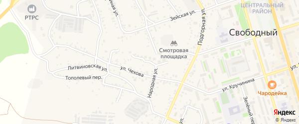 Лучистая улица на карте Свободного с номерами домов