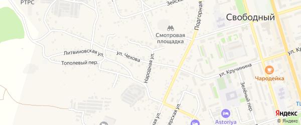 Переулок Чехова на карте Свободного с номерами домов