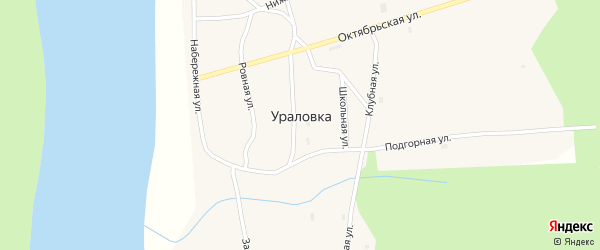 Заозерная улица на карте села Ураловки с номерами домов
