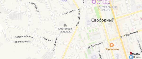 Красноармейская улица на карте Свободного с номерами домов