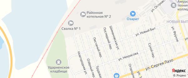 Песчаный переулок на карте Свободного с номерами домов