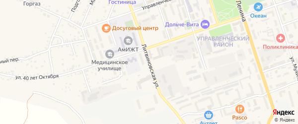 Литвиновская улица на карте Свободного с номерами домов
