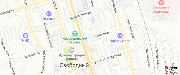 Зейская улица на карте Свободного с номерами домов