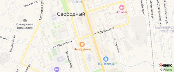 Улица Кручинина на карте Свободного с номерами домов