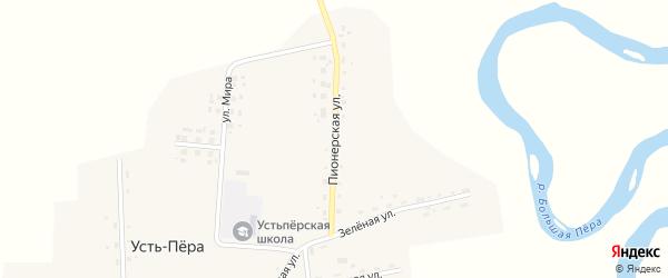 Пионерская улица на карте села Усть-Пера с номерами домов