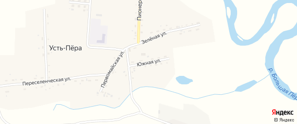 Южная улица на карте села Усть-Пера с номерами домов
