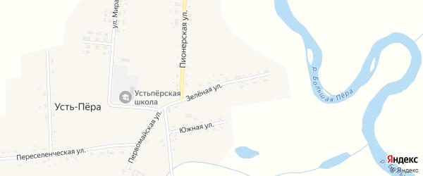 Зеленая улица на карте села Усть-Пера с номерами домов