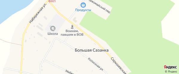 Серышевская улица на карте села Большей Сазанки с номерами домов