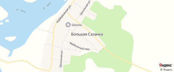 Карта села Большей Сазанки в Амурской области с улицами и номерами домов