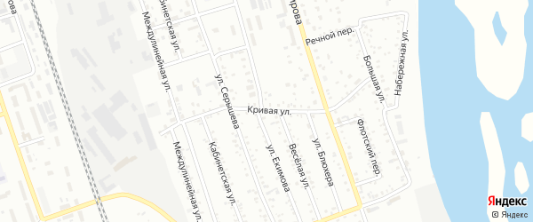 Кривая улица на карте Свободного с номерами домов